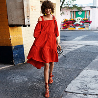 2017 Summer New Dress Temperament Red Word Lead The Soviet Union Tie Waist Dress Women