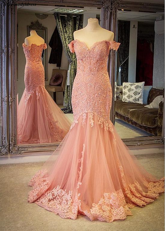Off Shoulder Mermaid Evening Dresses 2019 Lace Appliques Zipper Back Sweep Train Customized Prom Party Gowns Robe de soiree