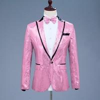 pink Sequins Blazer Jacket Men New Nightclub Prom Suit Blazer Men Party Stage Singer Blazers Costume Homme mens show costume