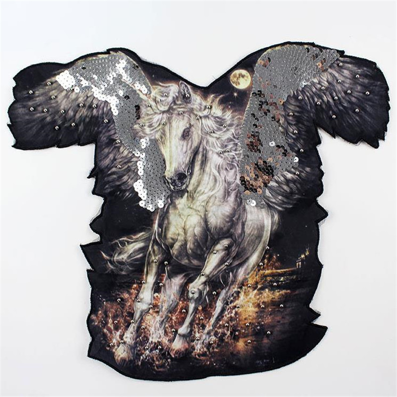 Fashion Top Shirt Patch Diy Clothes 46cm Wings Horse Beading Street Icon Sequins deal with it Patches for clothing T shirt Women