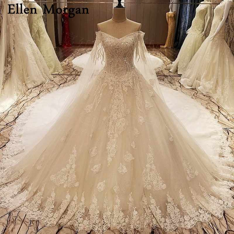 Chapel Train Long Wedding Dresses 2019 For Women Lace Up Sexy Off