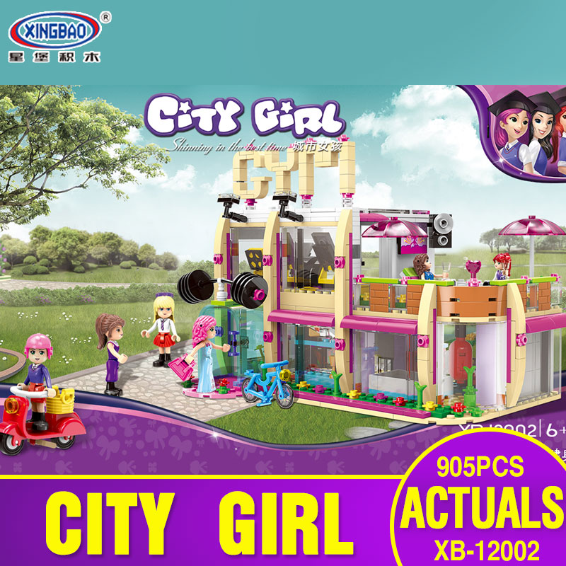 XINGBAO 12002 New 905Pcs City Girl Series The Gym Club Set Building Blocks Bricks Toys Model For Children As New Year Gifts xingbao 12004 554pcs city girl series the corner of the school set building blocks bricks educational funny toys gifts for kids