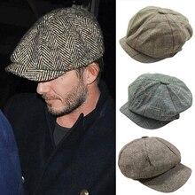 Hombres Tweed boina Peaky Blinders Baker Boy plana cheque abuelo sombrero (China) 857321b5718