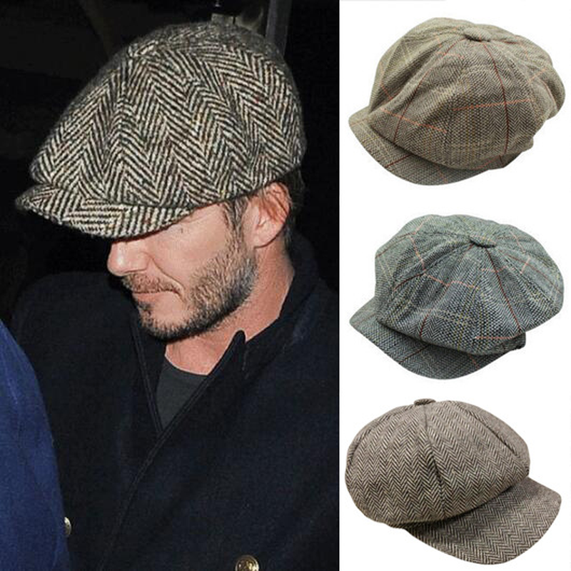 Peaky Blinder Cap Men Tweed Beret Cap Peaky Blinders Baker Boy Flat Check Grandad Hat Man