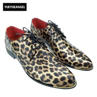 2017 New British Mens Pointed Toe Leopard Print Lace Up Punk Casual Dress Shoes For Man