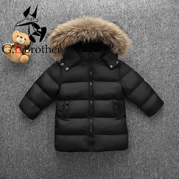 1-6T Kids Winter Coat Toddler Boys Down Jacket Natural Raccoon Fur Hooded Girls Outwear Coat Parkas Long Chindren Snowsuit Z126 цена