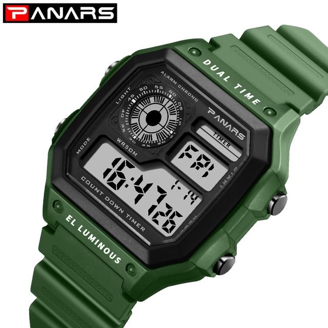28142a2be50 PANARS Esportes Homens Relógio Digital Display LED Escalada Chronograph  Relógios Masculino 12 24 Horas Relógio