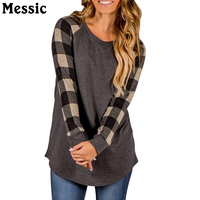 Messic Plus Size 4XL 5XL Plaid Tee Shirt Femme 2017 Autumn Casual Loose O Neck Long