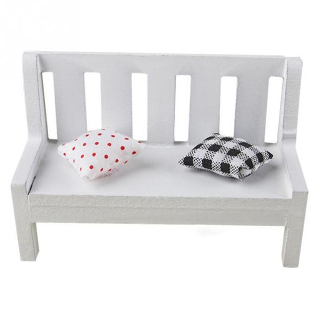 New Mini Wooden Pillows Chairs Bench With Cushions Fairy Garden Beauteous How To Decorate A Bench With Pillows