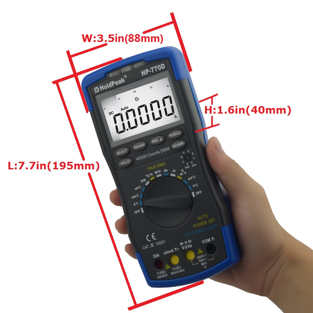 HoldPeak Multimetr cyfrowy HP-770D High-Accuracy Auto Range True RMS - Przyrządy pomiarowe - Zdjęcie 5