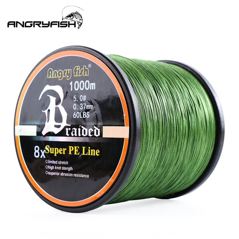Angryfish Wholesale 1000Meters 8x Braided Fishing Line 8 Colors Super PE Line-in Fishing Lines from Sports & Entertainment