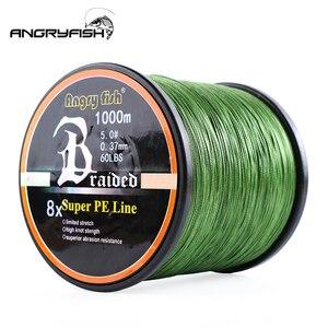 Image 1 - Angryfish ligne de pêche tressée 8 couleurs, ligne Super PE, 1000 mètres, vente en gros