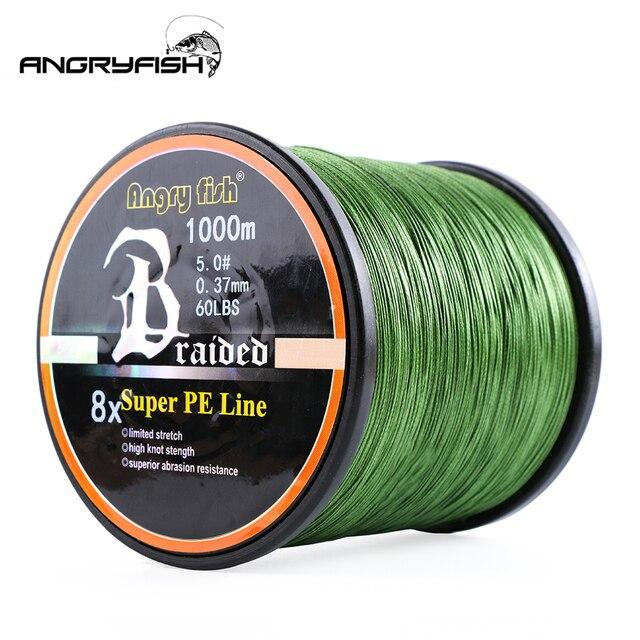 Angryfish ligne de pêche tressée 8 couleurs, ligne Super PE, 1000 mètres, vente en gros