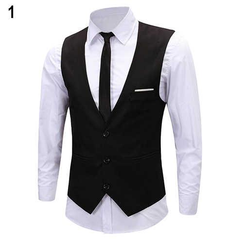 0cab018f84f9 ... Men's Formal Business Slim Fit V-neck Solid Single-Breasted Vest Suit  Waistcoat New ...