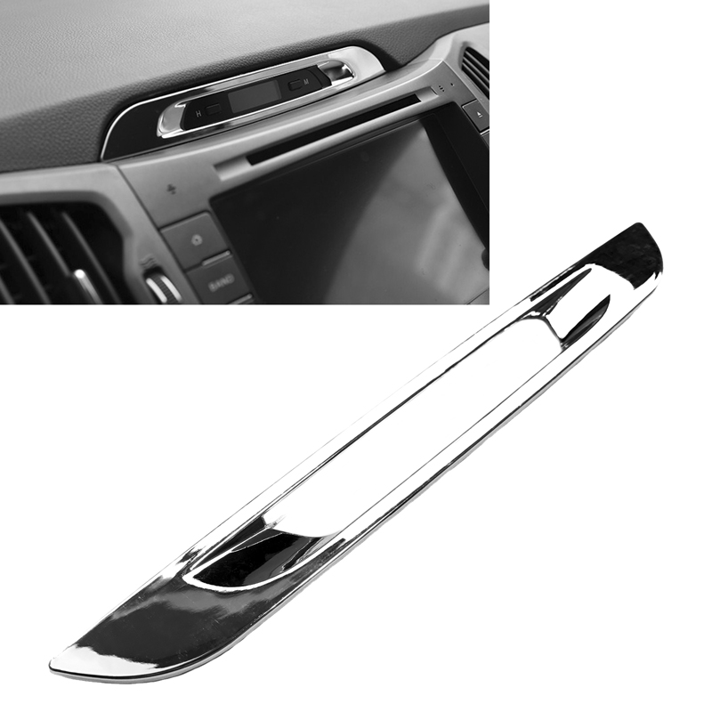 JEAZEA Car Styling ABS Chrome Central Console Display Molding Trim Sticker Cover for Kia Sportage R 2011 2012 2013 2014 2015 цена