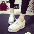 LIN KING Women Shoes Casual Solid Black Patent Leather Thick Sole Lace Up Low-top Round Toe Platform Brand Office Oxfords Shoes