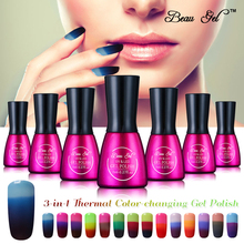 Фотография Beau Gel Beauty 3 in 1 Nail Gel Polish Mood Thermal Changing Polish Nail Gel Varnish Chameleon Temperature Color Change Gel