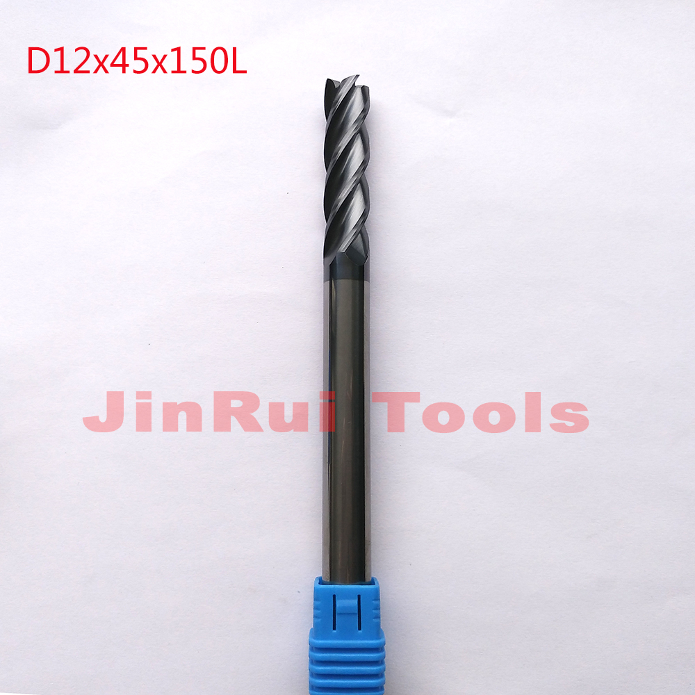 цены 1pc  D12*45*150L  HRC55  4 Flutes Flat Square  Solide Carbide End Mills CNC router bit milling cutter Tools knife fresa