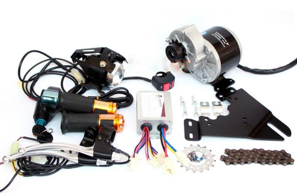 350 W Kit d'entraînement de chaîne de vélo électrique peut s'adapter à l'utilisation de vélo 44mm frein à disque vélo électrique côté monté brosse moteur Kit 12 T roue libre