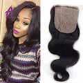 7A brazilian virgin human hair 4*4 silk base body wave closures free/middle/3/side part bleached knots silk base closure