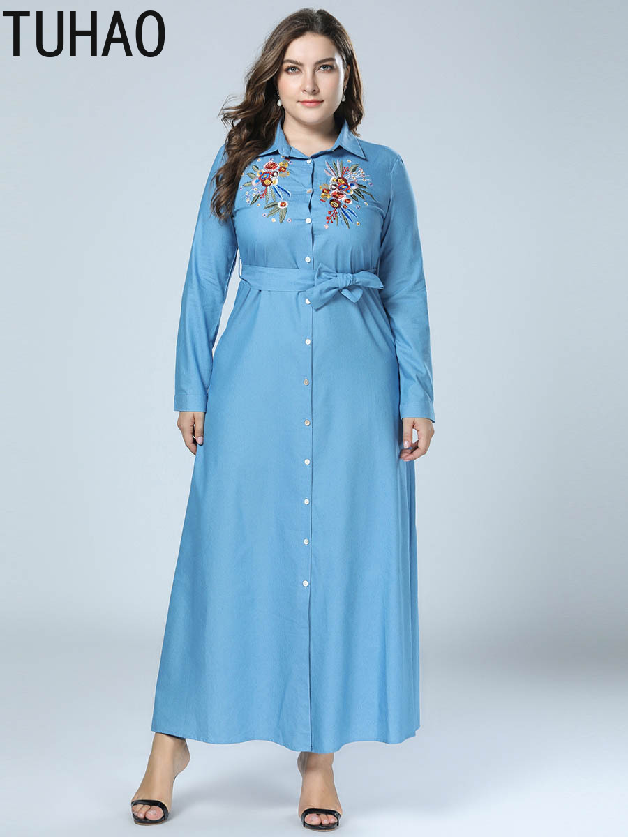 a618e4720b TUHAO Women s Clothing Factory Embroidered Denim Dresses Shirt Dress Plus  Size 4XL 3XL Long Sleeve Elegant Maxi Long Dresses ZZL-in Dresses from  Women s ...
