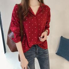 Women Blouses 2019 Polka Dot Print Blouse Long Sleeve Turn Down Collar Office Shirt Red Black Tunic Casual Tops Plus Size Blusas plus size polka dot curved tunic top