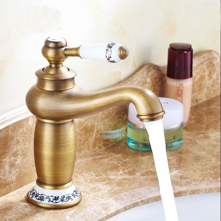 Free shipping Contemporary Bathroom Faucet Antique bronze finish Brass Basin Sink Faucet Single Handle water tap Ceramic Base free shipping contemporary concise bathroom faucet antique bronze finish brass basin sink faucet single handle water taps