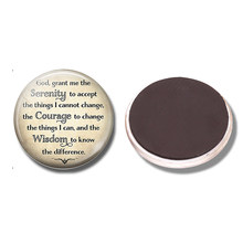 """God"" Serenity Prayer 30MM Fridge Magnet Buddhism Inspirational Quote Glass Cabochon Magnetic Refrigerator Stickers Note Holder(China)"