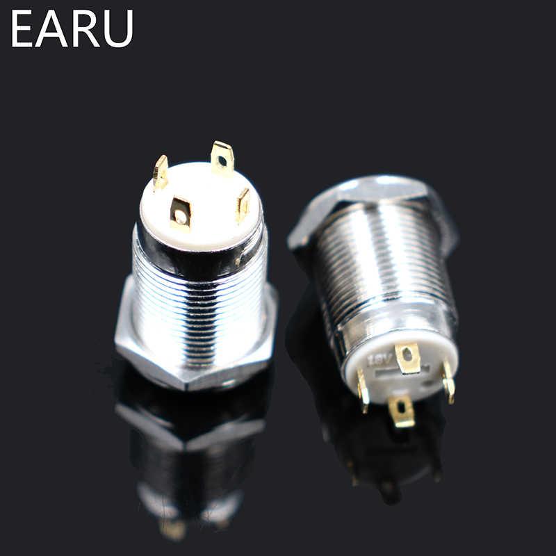 1 piezas 12mm redondo alto impermeable momentáneo de Metal de acero inoxidable interruptor de botón de empuje de luz LED brillo cuerno de coche Auto restablecer