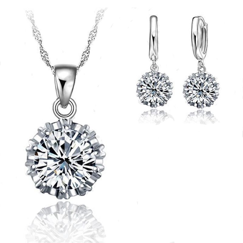 Trendy Women Low Price Jewelry Sets 100%  Cubic Zirconia Necklace Pendant Earrings Big Sale