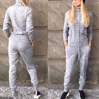 Tapakva Knitted sweater Casual Suit Women Round Neck Pullover Sweaters and Long Pant 2 Piece set Knit Suits