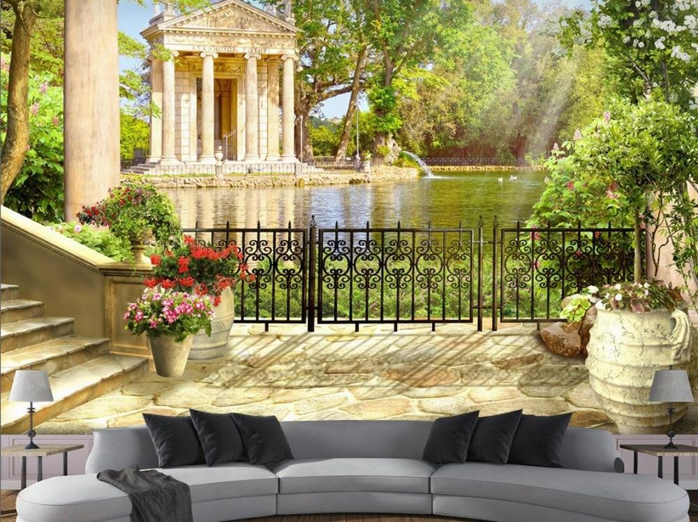 3d stereoscopic wallpaper Custom Garden view wall ...