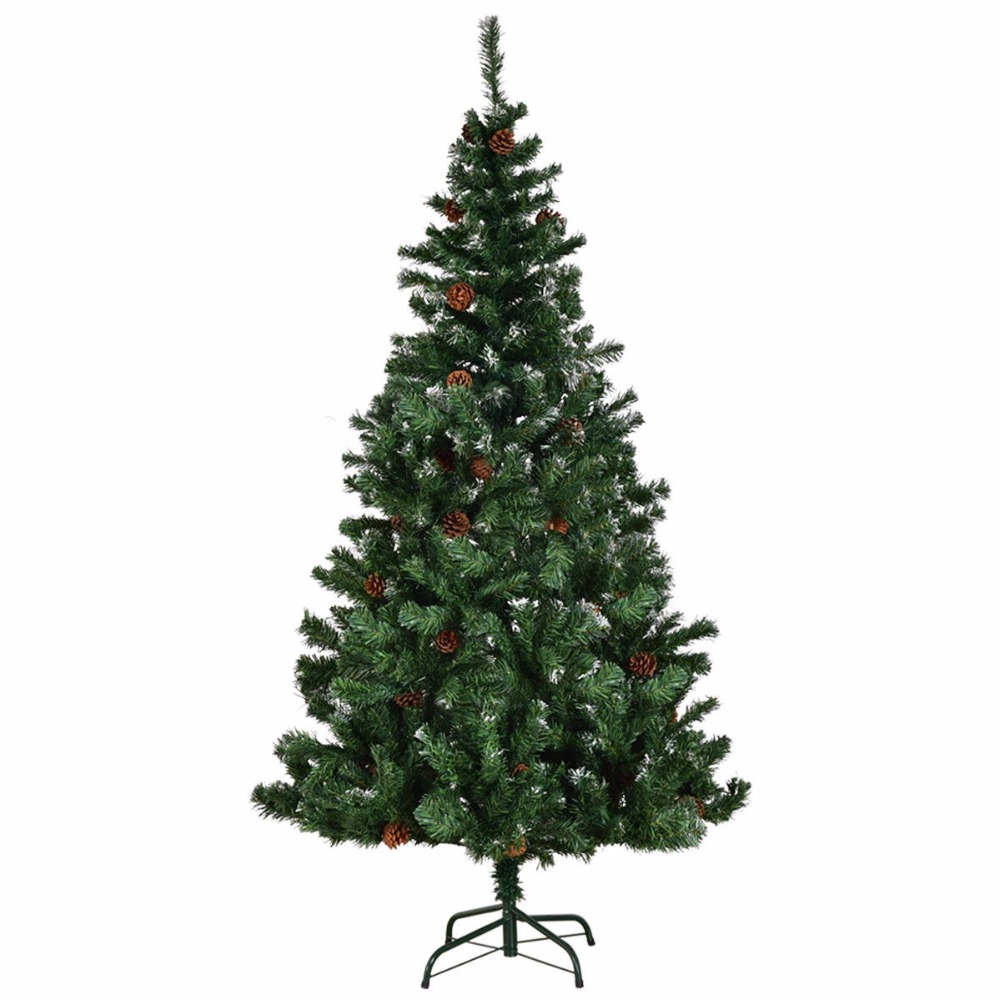 goplus 5 6 7 green artificial christmas tree with metal stand legs pine cones 2018 new year decor for home cm20662 in trees from home garden on
