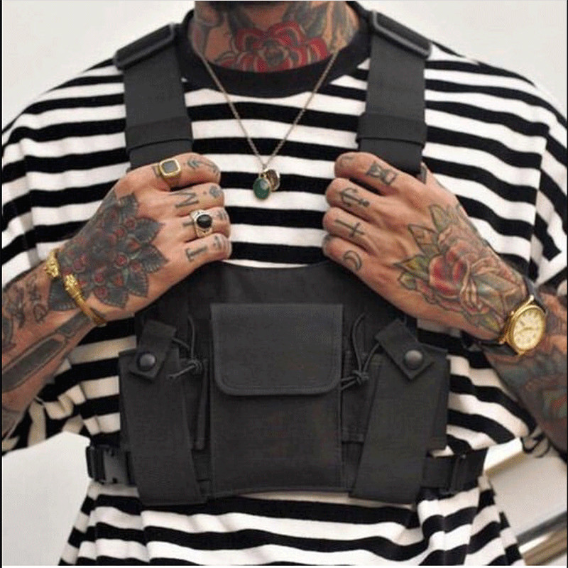 Fashion Vest Oxford Chest Rig Bag Functional Hip Hop Streetwear Tactical Harness Black Chest Rig Kanye West Waist Pack Chest Bag