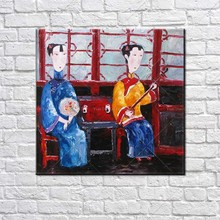 Screen Two Girl Palette Knife Abstract Decor Cheongsam Hand-painted Paintings Chinese Traditional Wall Oil Painting Canvas