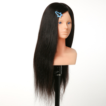 лучшая цена 100% Human Hair Makeup Mannequin Head with Shoulder Training Maniqui Head For Hairdresser Hairdressing Doll Heads