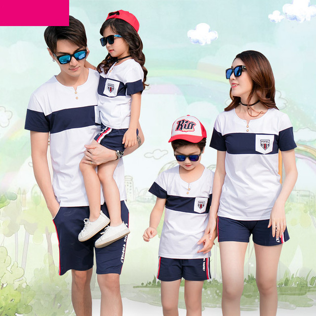 9fa84fa4e61 Sporty Family Matching Outfits Summer Family Look Clothes Set Hot Style  Cotton Short Sleeve V-Neck T-Shirt With Shorts 2pcs Sets
