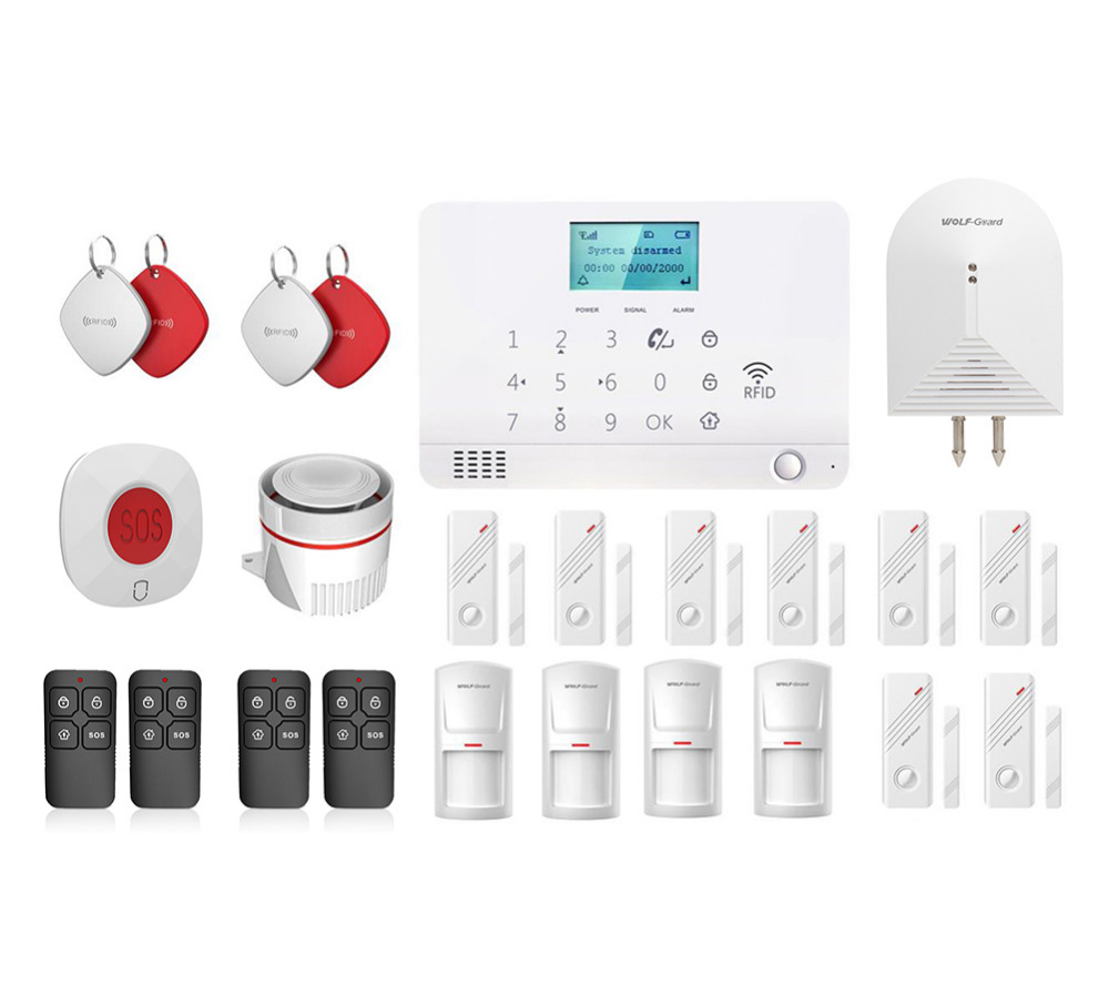 Wolf-Guard LCD GSM SMS Wireless Home Alarm Security Burglar System 8 Door Sensor 4 PIR Detector 1 SOS Button 4 Keyfobs 4 RFID