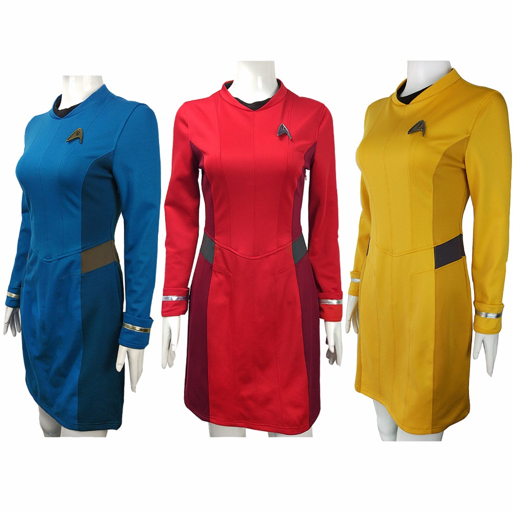 Star Trek Cosplay Costume Uhura Cosplay Clothing Female Blue Dress Duty Uniform Blue Dress Women Suit Halloween Party with Badge