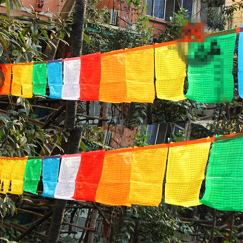 """Tibeto budistų aprūpinimas Ksitigarbha Mantra Subtilus spalvingas šilko malda """"Falg Clear"""" rašymas Religinės vėliavos 6,5 metrų ilgio"""