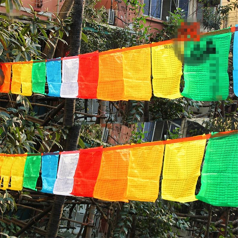 Тибетанска будистичка опскрба Кситигарбха мантра њежна шарена молитва свиле Фалг јасан рукопис вјерске заставе дужине 6,5 метара
