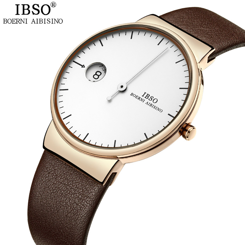 IBSO Creative One Hand Watch Men Special Design Simple Luxury Casual Watch Genuine Leather Strap Waterproof Relogio Masculino