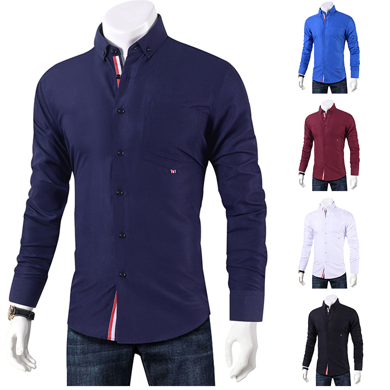 Brand 2019 Casual Shirt Men Long Sleeve Slim Fit Men's Casual Button-Down Shirt Formal Dress Shirts Men Clothes 2018 Camisa