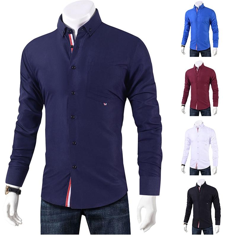 Brand 2019 Casual Shirt Men Long Sleeve Slim Fit Men's Casual Button-Down Shirt Formal Dress Shirts Men Clothes 2018 Camisa