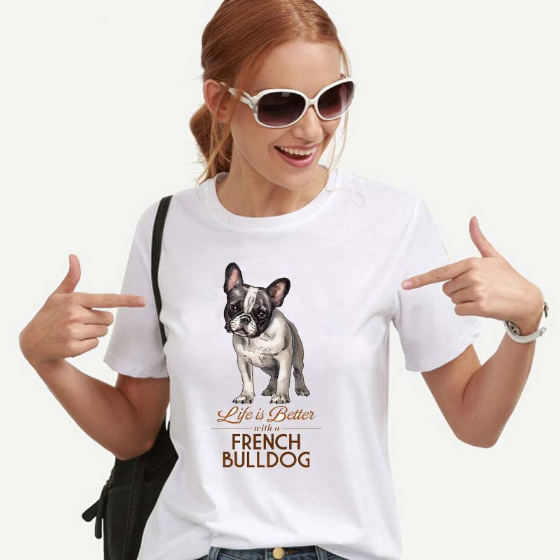 Summer Women French Bulldog Printed Tops tshirt Life is Better with a bulldog Printed Women   T  -  shirt   Short Sleeve O-neck   t     shirt