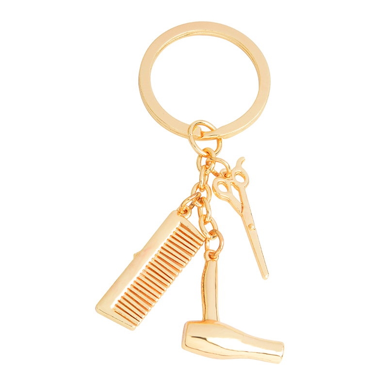 Hair dryer Scissors Comb Keychain Gold Silver Hairdresser Keyring For Women Men Fashion Hairstylist Key chains Jewelry Gift