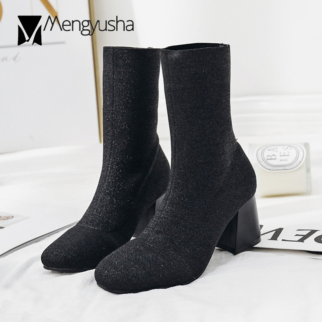 c6883a363f16 autumn winter ankle boots women thick high heels sock boots warm plush botines  mujer elastic stretch short chelsea boots c696