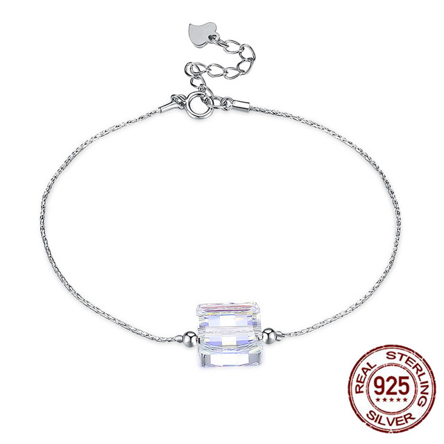S925 Sterling Silver Pride ID Bracelet LEKANI Crystals From Swarovski Big  Stone Square Chain Women Jewelry 18b5a249e128