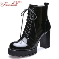 FACNDINLL classic lace up autumn winter women's patent leather ankle boots high heels platform shoes woman snow motorcycle boots