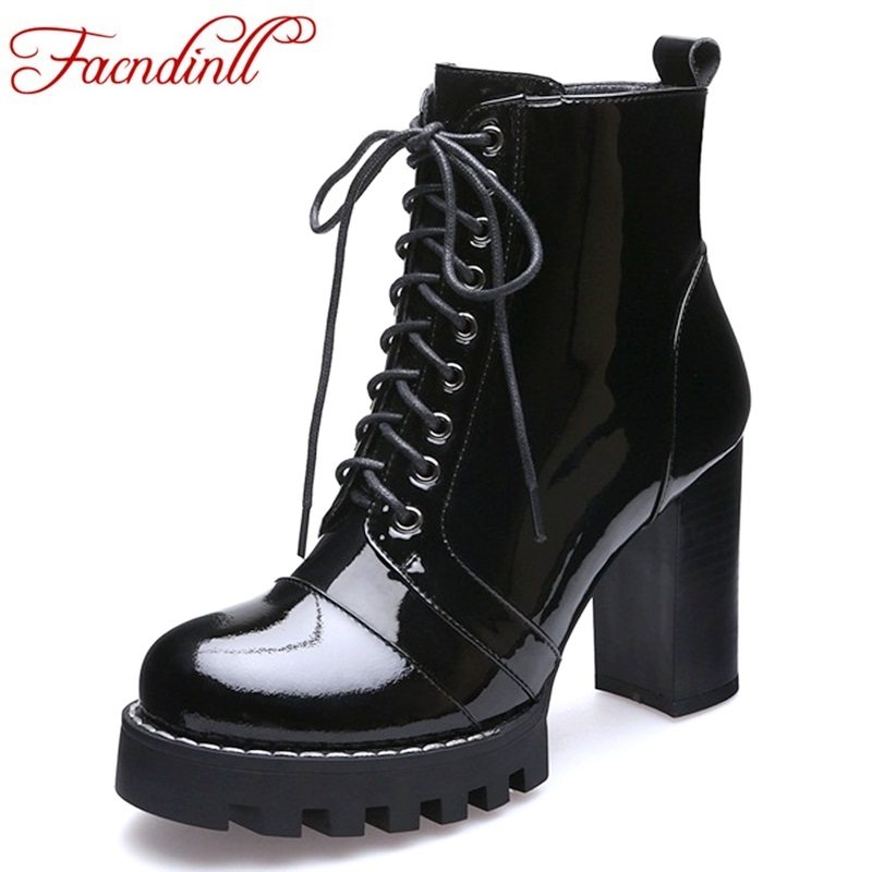 FACNDINLL classic lace-up autumn winter women's patent leather ankle boots high heels platform shoes woman snow motorcycle boots fedonas top quality winter ankle boots women platform high heels genuine leather shoes woman warm plush snow motorcycle boots